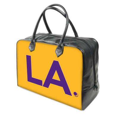 LA Los Angeles  Lakers colors LEATHER Carry on Travel / Gym / Handbag