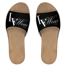 Load image into Gallery viewer, LV Wear Leather Sliders (black/jumbo letter)