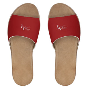 LVWear Leather Sliders (red/mini letter)