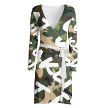 Load image into Gallery viewer, Make Love Not War Wrap dress