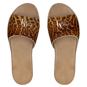 LV Wear (leopard) leather sliders