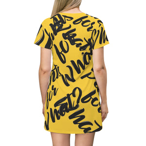"""PANTS FOR WHAT"" (dark yellow) T-shirt Dress"