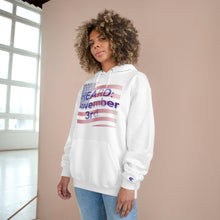 Load image into Gallery viewer, HEARD: NOVEMBER 3 Flag Champion x TeeAllboutIt Hoodie (American Flag / Blue Letter)