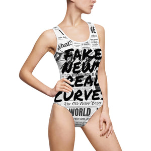 """ ̷F̷a̷k̷e̷ ̷N̷e̷w̷s̷ Real Curves "" (scratch through / frontal only) News Print Women's Classic One-Piece Swimsuit"
