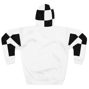 """ To Be Continued "" Marathon Flag Unisex Hoodie (white/checkered pocket) Unisex Pullover Hoodie"