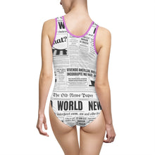 Load image into Gallery viewer, News Print Women's Classic One-Piece Swimsuit