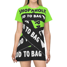 Load image into Gallery viewer, Shopaholic Add to Bag™ (Bandage/Fluorescent Green) T-shirt Dress