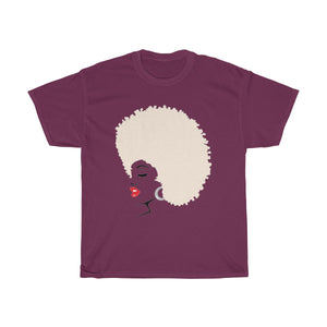 "*discount special* "" Melanin Melanie "" (red lippie/blonde afro) Unisex Heavy Cotton Tee"