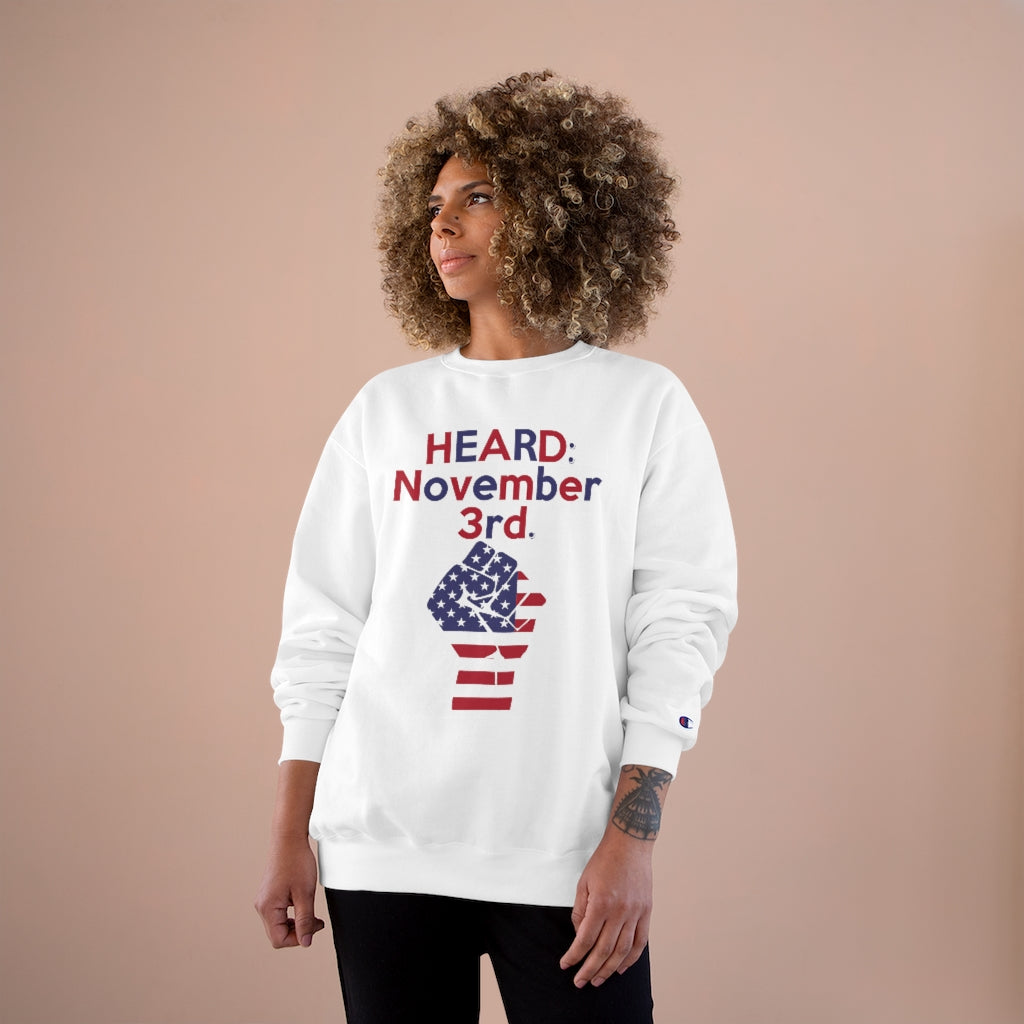 HEARD: NOVEMBER 3RD Champion x TeeAllAboutIt Sweatshirt (Red and Blue Letter/ Flag Fist)