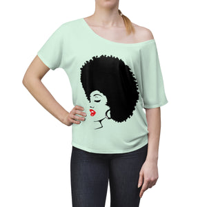 "*discount special* "" Melanin Melanie "" (black fro / red lippie )  Women's Slouchy top"