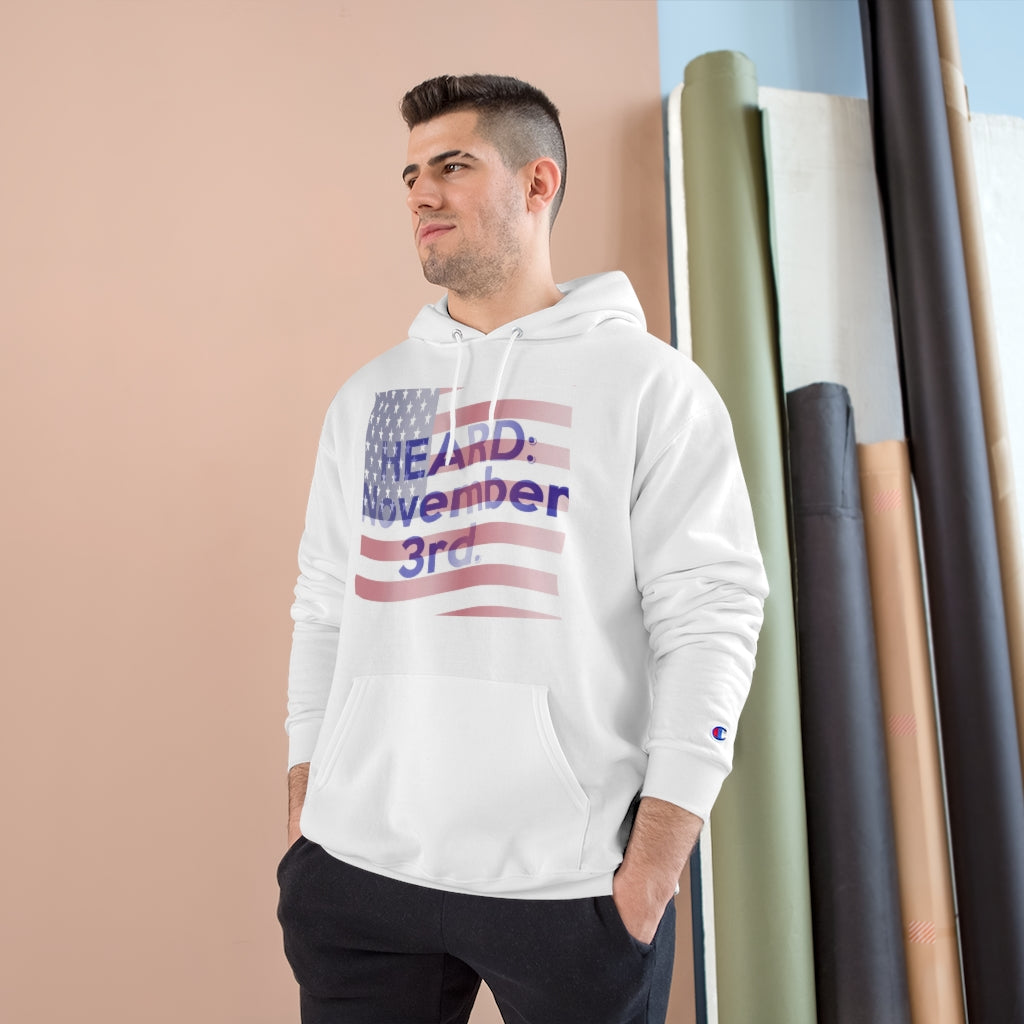 HEARD: NOVEMBER 3 Flag Champion x TeeAllboutIt Hoodie (American Flag / Blue Letter)
