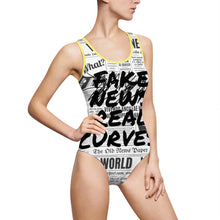 "Load image into Gallery viewer, "" ̷F̷a̷k̷e̷ ̷N̷e̷w̷s̷ Real Curves "" (scratch through / frontal only) News Print Women's Classic One-Piece Swimsuit"
