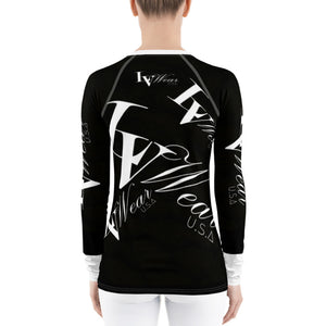 📮📦 LV Wear Women's Rash Guard Fitted Shirt (Black w/white collar & lower sleeves)
