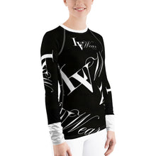 Load image into Gallery viewer, 📮📦 LV Wear Women's Rash Guard Fitted Shirt (Black w/white collar & lower sleeves)