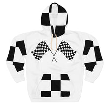 "Load image into Gallery viewer, Nipsey Hussle inspired "" To Be Continued "" Marathon Flag Unisex Hoodie (white/checkered pocket) Unisex Pullover Hoodie"