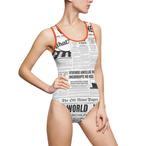 News Print Women's Classic One-Piece Swimsuit