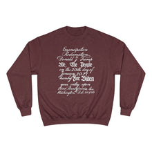 Load image into Gallery viewer, U.S. Constitution Designed Emancipation Trump - Biden TeeAllAboutIt x Champion Sweatshirt