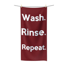 "Load image into Gallery viewer, "" Wash. Rinse. Repeat "" (burgundy) Polycotton Towel"