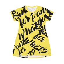 "Load image into Gallery viewer, ""PANTS FOR WHAT"" (light yellow) T-shirt Dress"