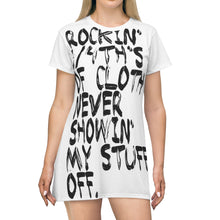 Load image into Gallery viewer, Rockin' 3/4th's Of Cloth Never Showin My Stuff Off T-shirt Dress  🌠