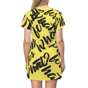 """PANTS FOR WHAT"" (light yellow) T-shirt Dress"