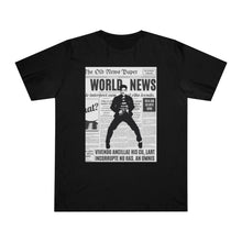 Load image into Gallery viewer, World News ELVIS Unisex Deluxe T-shirt (Black w/white)