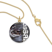 Load image into Gallery viewer, mesSAGE single loop laurel coined necklace