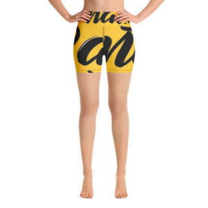 """PANTS FOR WHAT"" (dark yellow) women's Yoga/Biker Shorts"