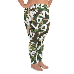 Make Love Not War Plus Size Camou LEGGINGS