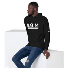Load image into Gallery viewer, B.G.M (Black Guy Magic / white band / sleeved) Unisex Hoodie