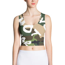 Load image into Gallery viewer, MAKE LOVE NOT WAR Camouflage Crop Top