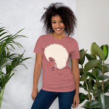 "Load image into Gallery viewer, "" Melanin Melanie "" (red lippie / blonde afro) short-sleeve Unisex tee"