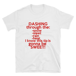 Dasher Dashing Through the Snow unisex short-sleeve t shirt
