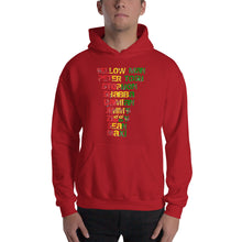 "Load image into Gallery viewer, "" Yellow Man Peter Tosh Jimmy Shabba  Damian Stephen Ziggy Sean Maxi "" Reggaeton / rugged letter Hooded Sweatshirt"