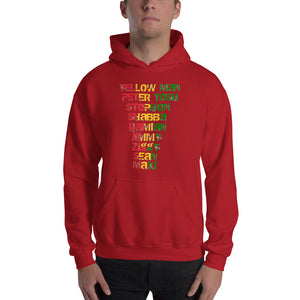 """ Yellow Man Peter Tosh Jimmy Shabba  Damian Stephen Ziggy Sean Maxi "" Reggaeton / rugged letter Hooded Sweatshirt"