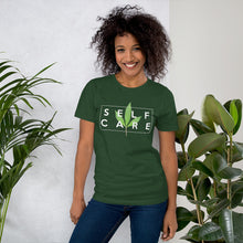 "Load image into Gallery viewer, "" Self Care "" ( cannabis / white ) short-sleeve unisex tee"