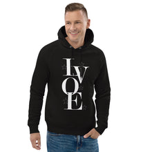 "Load image into Gallery viewer, LV Wear ""Love"" Unisex pullover hoodie (black w/white stars)"