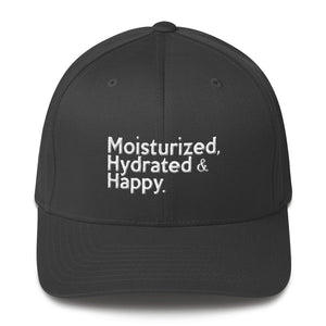 """ Moisturized, Hydrated & Happy "" structured twill cap"
