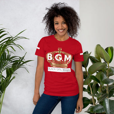 B.G.M Black Girl Magic (gold crown) Short-Sleeve Unisex T-Shirt