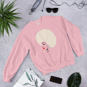 """ Melanin Melanie "" (red lippie / blonde afro) sweatshirt"