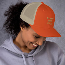 "Load image into Gallery viewer, "" Pretty Hat Day "" (khaki stitch) Trucker Cap"