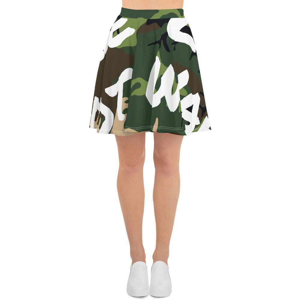 MAKE LOVE NOT WAR Camou Skater Skirt