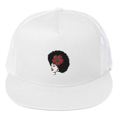 Melanin Melanie (red rose/embroidered) Trucker Cap