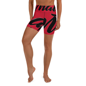 """PANTS FOR WHAT"" (red) women's Yoga/Biker Shorts"