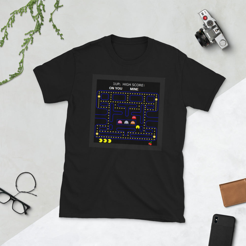 1 Up: Me High Score: Mine Pacman Gamer short-sleeve unisex tee