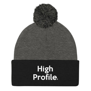 """ High Profile "" Embroidered Pom Pom Knit Cap"