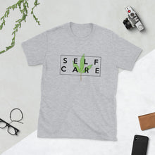 "Load image into Gallery viewer, "" Self Care "" ( cannabis / black ) short-sleeve unisex tee"