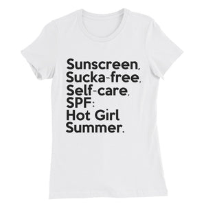 """ Sunscreen, Sucka-free "" Women's Slim Fit tee"