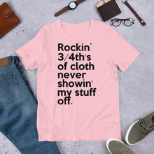 "Load image into Gallery viewer, Method Man & Mary J Blige inspired ""Rockin' 3/4th's Of Cloth Never Showin My Stuff Off"" Unisex T-Shirt"