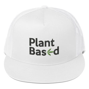 """ Plant Based "" cannabis CBD  ( black letter ) Trucker Cap"